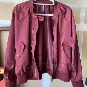 Free People bomber jacket in burgundy